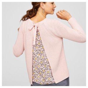 Loft Split Back Pink Sweater Floral Lining